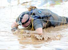 Military training in crawling through water